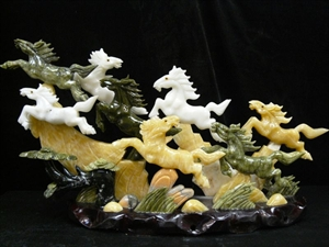 Picture of REAL MULTI JADE 8 HORSES MOUNTAIN  (PJ08)