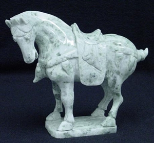 Picture of REAL JADE SADDLED TANG HORSE (LH6)
