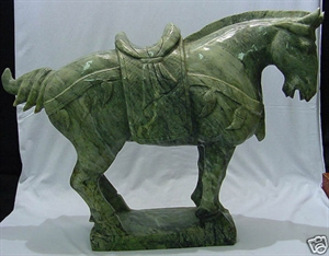 Picture of LARGE JADE SADDLED TANG HORSE (LH3D)