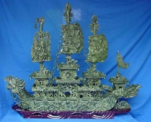 """Picture of LARGE 48"""" GREEN JADE DRAGON BOAT  (BJ120)"""