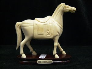 Picture of Hand Carved Bone Saddled Tang Horse (2106)