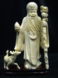 Picture of Hand Carved Bone Longevity with Deer (2112B)