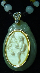 Picture of IVORY & JADE NECKLACE - MONKEY (I12-09)