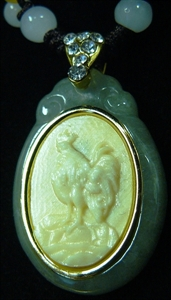 Picture of IVORY & JADE NECKLACE - ROOSTER (I12-10)