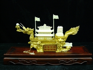 Picture of Bone golden dragon boat with case (1011B)