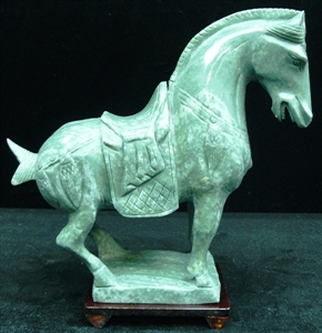 Picture of REAL JADE SADDLED TANG HORSE (LH8A)