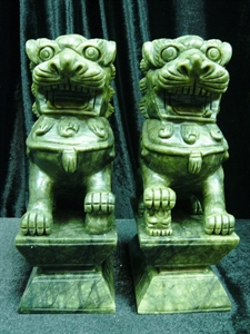 "Picture of Pair of 8"" green jade foodogs (HJ022)"
