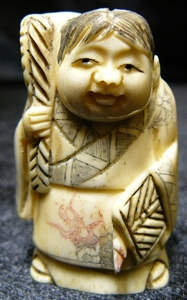 "Picture of 2"" ANTIQUE BONE JAPANESE NETSUKE (N049)"