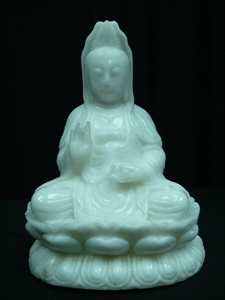 "Picture of 16"" WHITE JADE KWANYIN SITTING ON LOTUS (A82)"