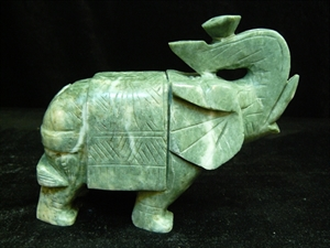 "Picture of 7"" Jade Saddled Elephant (LH9E)"