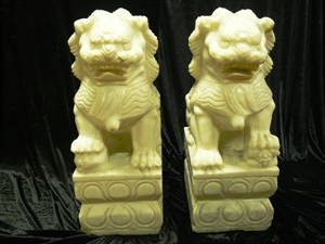 "Picture of PAIR OF 24"" WHITE JADE FOODOG / LION (HJ018L)"