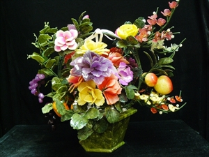 Picture of Large Jade Fruits and Flowers Basket (99-12)