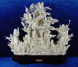 Picture of Bone Carving - 18 Immortals Mountain (02J2)