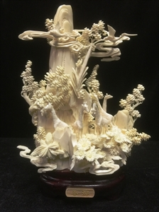 Picture of HAND CARVED COW BONE GIRAFFS MOUNTAIN (9212A4)