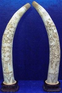 """Picture of 28"""" Pair of Antique Bone Tusks- Dragon & PHoenix (F28-DF)"""