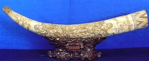 """Picture of 40"""" Antique Bone Tusk - 2 Dragons (F40-2d)"""
