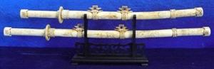 """Picture of 38"""" / 28"""" Antique Bone Swords Set (F36)"""