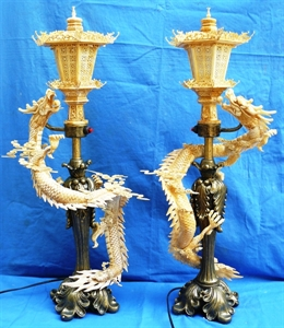 "Picture of Pair of 27"" Antique Bone Dragon Lamps (1502A)"