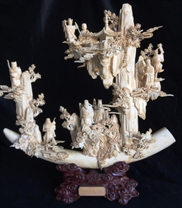 """Picture of 18"""" Antique Bone Eight Immortals Tusk (9780A)"""