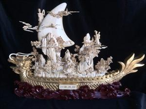 "Picture of 24"" Antique Bone Dragon Boat (01b2a)"