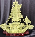 "Picture of REAL 16"" GREEN JADE DRAGON BOAT (BJ38C)"