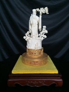 """Picture of 11"""" Hand Carved Bone Chinese Poet Su Dong Po 0910A"""