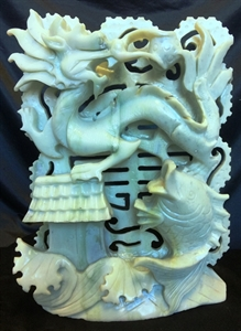 """Picture of 11"""" Jade Dragon and Fish (LX15)"""