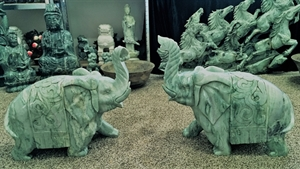 """Picture of 24"""" Pair of Jade Elephants (LH9D)"""