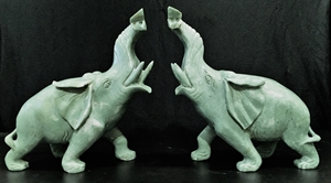 """Picture of Pair of 10"""" Jade Elephants (LH9B)"""