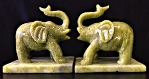 Picture of PAIR OF REAL JADE ELEPHANTS (F1186)