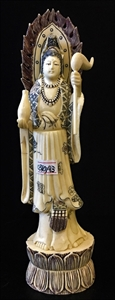 """Picture of 9.5"""" Antique Bone Standing Kwanyin 0310a3"""