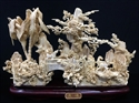 "Picture of 16"" Antique Bone Horses w Palm Tree (98M4)"