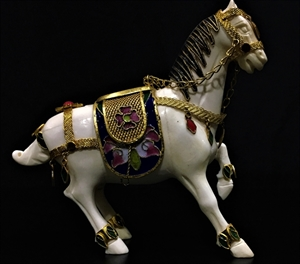"Picture of 5"" Bone and Cloisonne Saddled Tang Horse (JSM)"