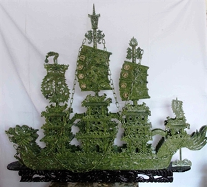 "Picture of 78"" 2 Meter Green Jade Dragon Boat BJ200"