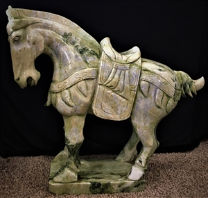 """Picture of 28"""" High Quality Jade Saddled Tang Horse LH3F"""