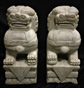 "Picture of 16"" Pair of white jade foodogs hj025"